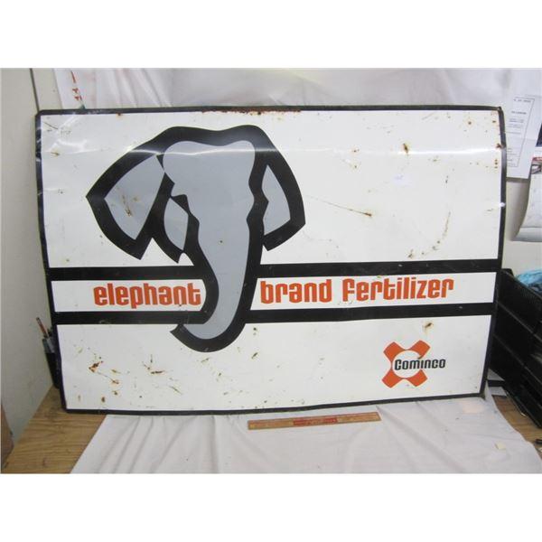 ELEPHANT BRAND FERTILIZER SIGN TIN 28X40