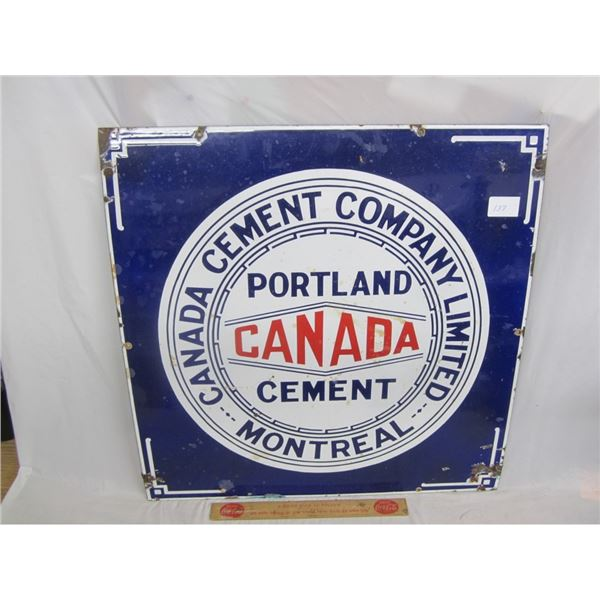 ANTIQUE PORCELAIN CANADA CEMENT MONTREAL SIGN 22 INCHES