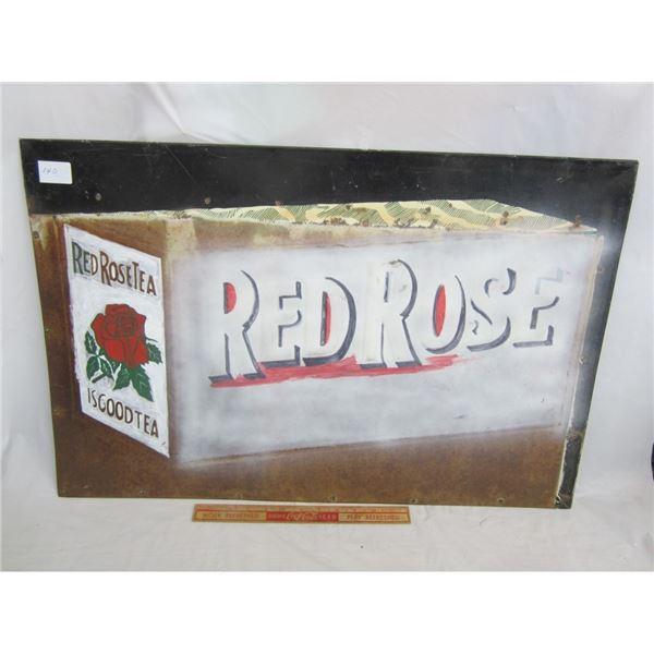 REPAINTED RED ROSE TEA SIGN