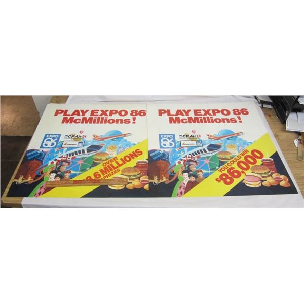 TWO PLASTIC MCDONALDS AD POSTERS 1886 EXPO