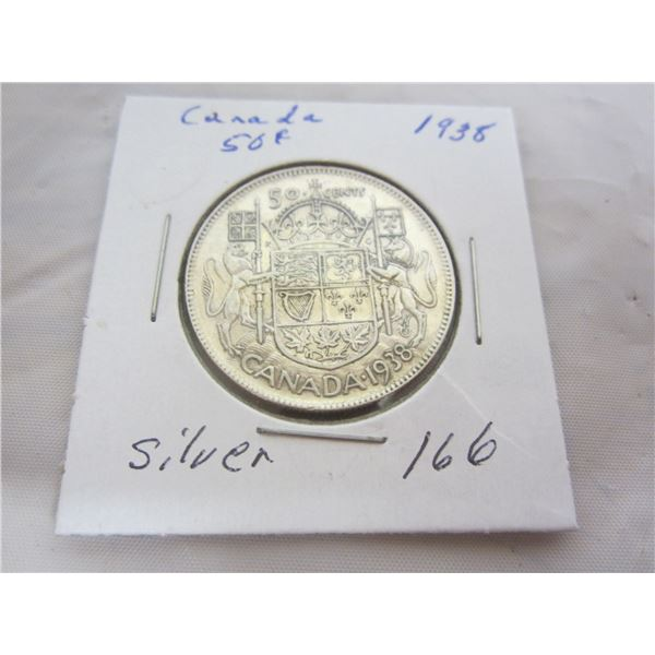 Canadian 1938 Fifty Cent Piece