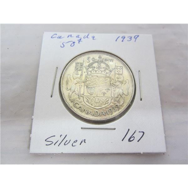 Canadian Silver 1939 Fifty Cent Piece