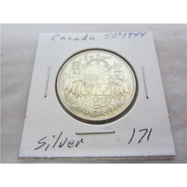 Canadian Silver 1944 Fifty Cent Piece