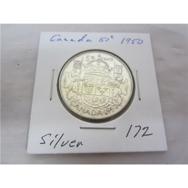 Canadian Silver 1950 Fifty Piece