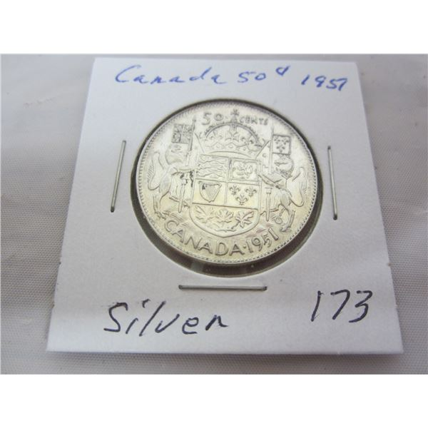 Canadian Silver 1951 Fifty Cent Piece