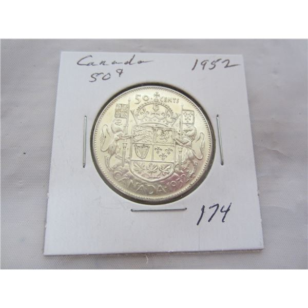 Canadian Silver 1952 Fifty Cent Piece