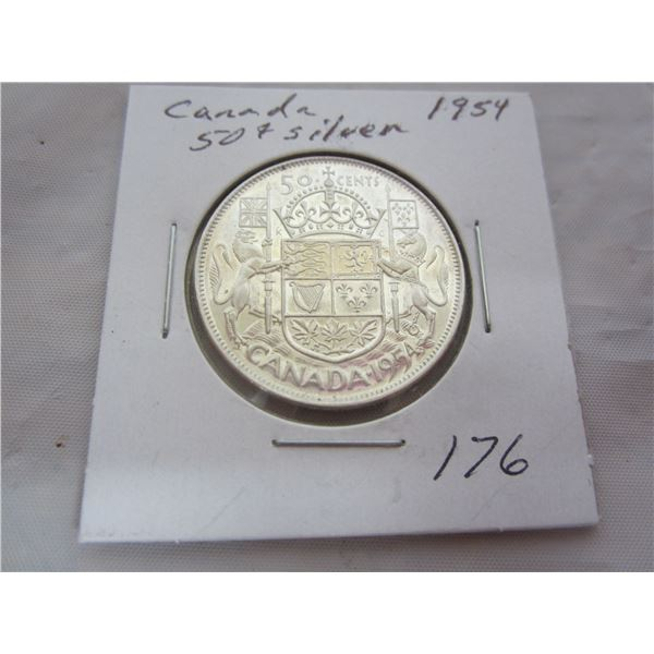 Candian Silver 1954 Fifty Cent Piece