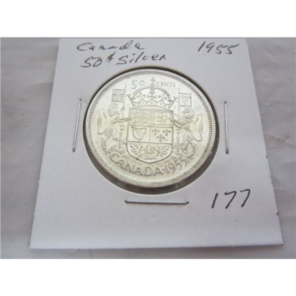 Canadian Silver 1955 Fifty Cent Piece