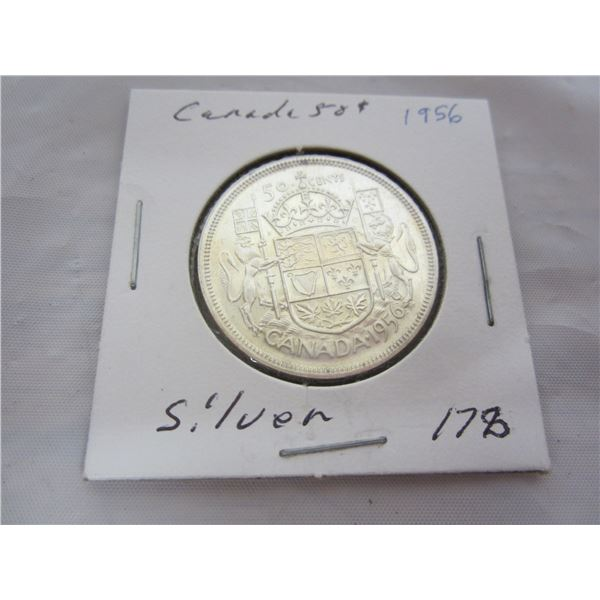 Canadian Silver 1956 Fifty Cent Piece