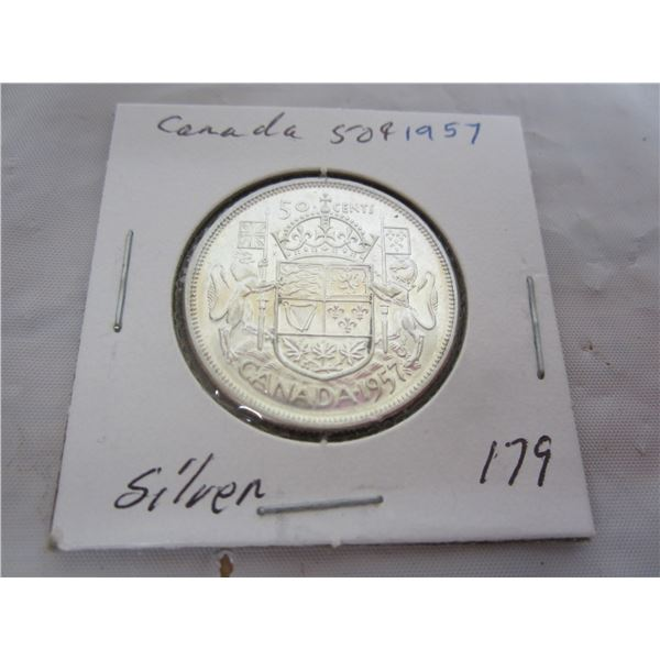 Canadian Silver 1957 Fifty Cent Piece