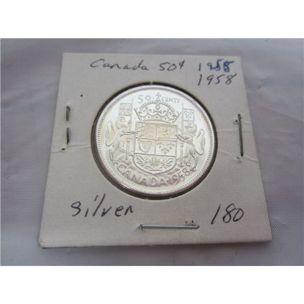 Canadian Silver 1958 Fifty Cent Piece