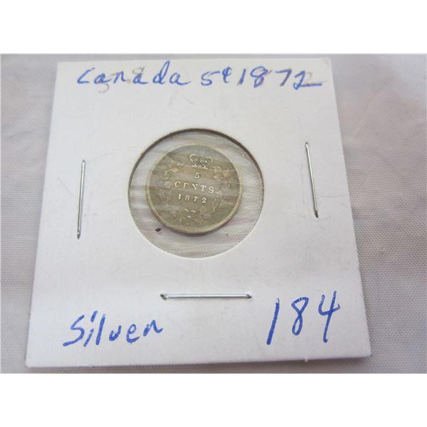 Canadian Silver 1872 Nickel