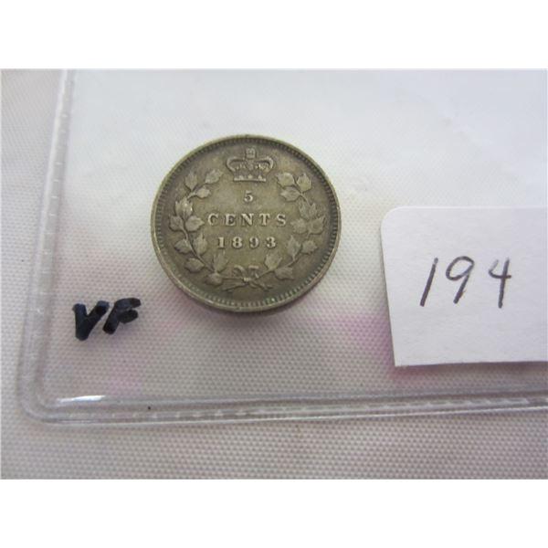 Canadian Silver 1893 Nickel