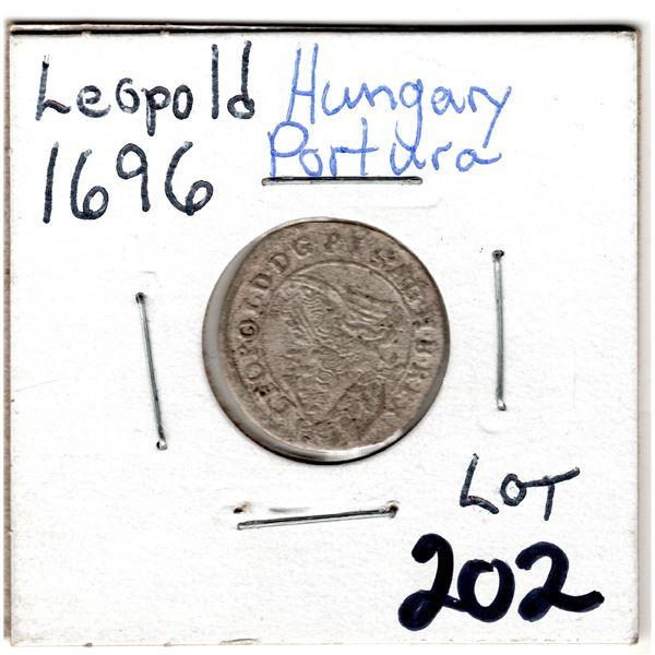 1696 SILVER LEOPOLD HUNGARY PORTURA