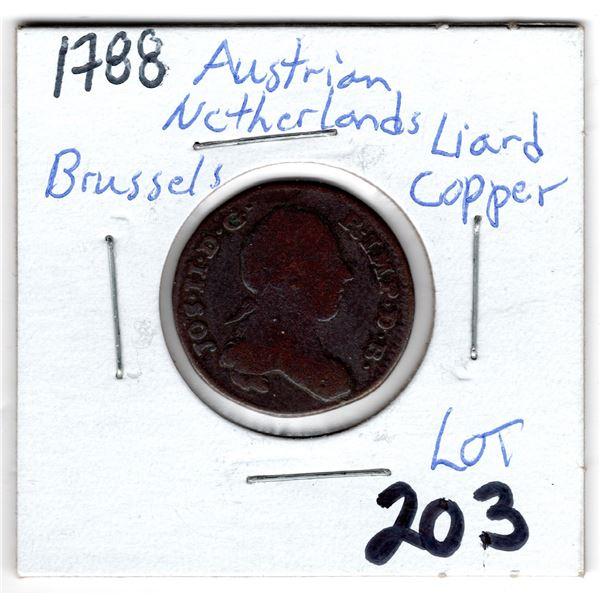 1788 AUSTRIAN NETHERLANDS BRUSSELS LIARD COPPER