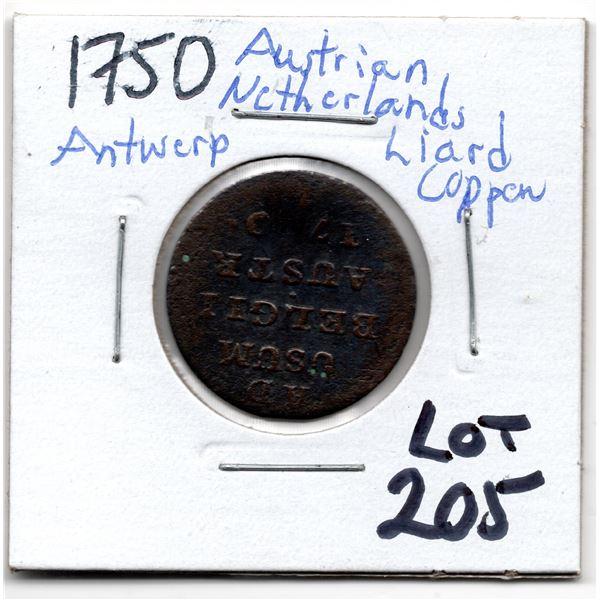 1750 AUSTRIAN NETHERLANDS ANTWERP LIARD COPPER