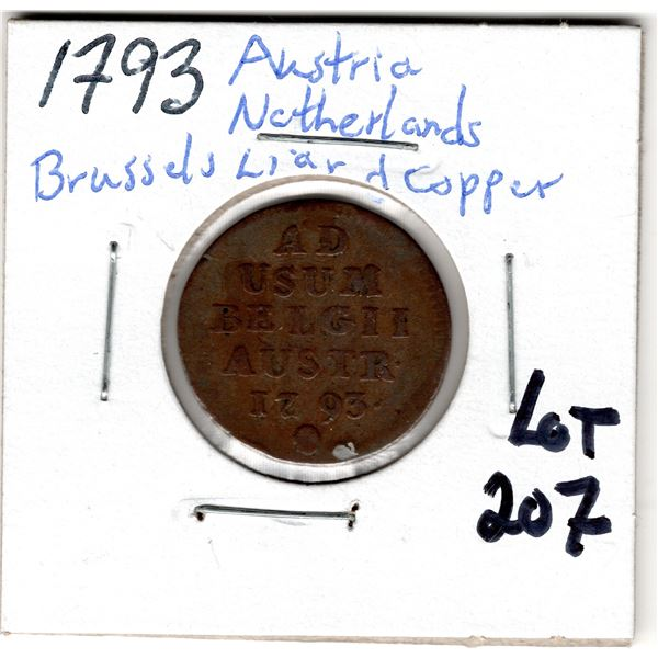 1793 AUSTRIAN NETHERLANDS ANTWERP LIARD COPPER