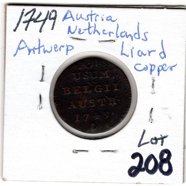 1749AUSTRIAN NETHERLANDS ANTWERP LIARD COPPER