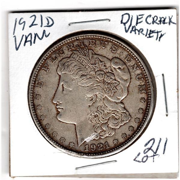 1921D MORGAN DOLLAR VAM DIE CRACK VARIETY SEE PHOTO 3