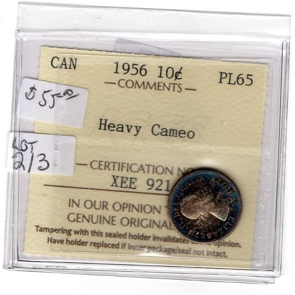 CERTIFIED PL65 HEAVY CAMEO 1956 10 CENT