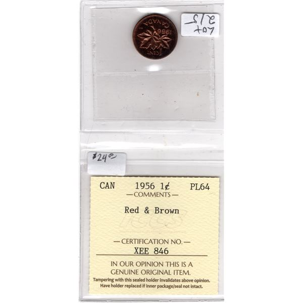 CERTIFIED PL64 RED AND BROWN 1956 1 CENT