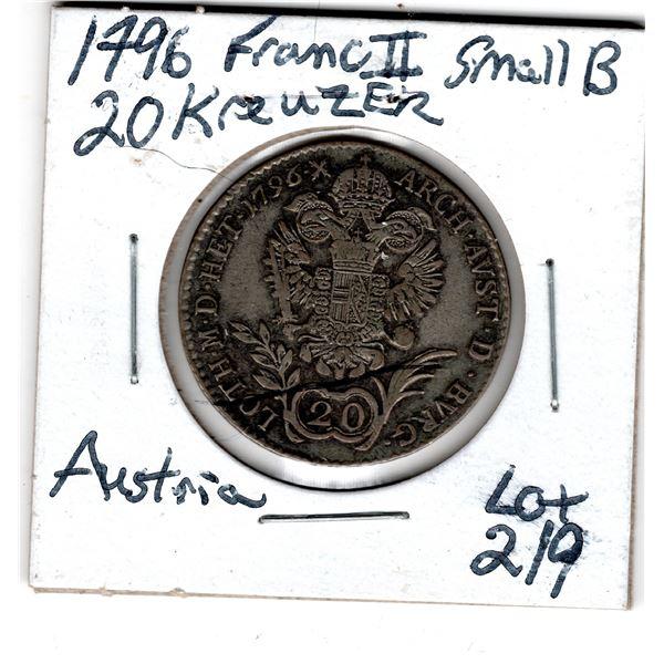 1796 SILVER 20 KREUZER AUSTRIA FRANC II SMALL B