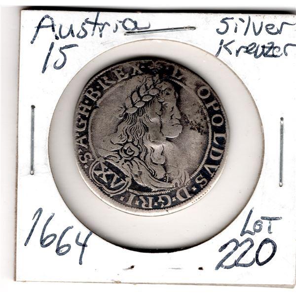 1664 AUSTRIA 15 KREUZER SILVER