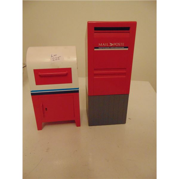 TWO CANADA POST COIN MAIL BOX SHAPED BANKS