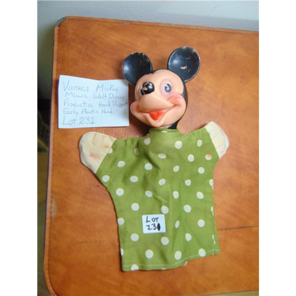 MICKEY MOUSE EARLY PLASTIC AND C H HAND PUPPET