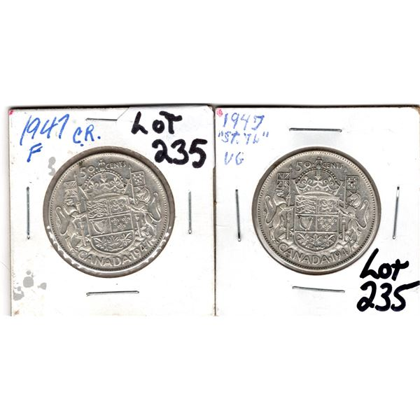 1947 ST 7 LEFT AND CURVED 7 RT 50 CENT PIECES