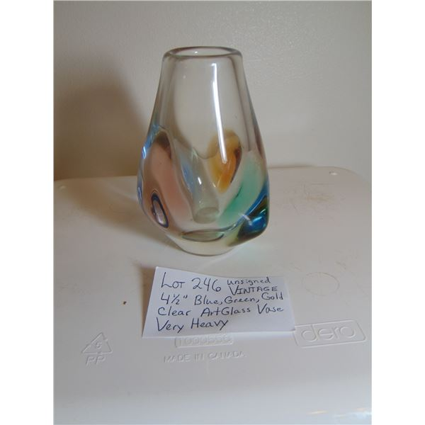 UNSIGNED BLUE GREEN GOLD CLEAR ART GLASS VASE