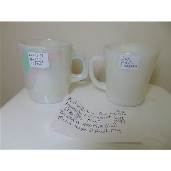 ANCHOR HOCKING D HANDLE MOON GLOW AND MILK GLASS CUPS.