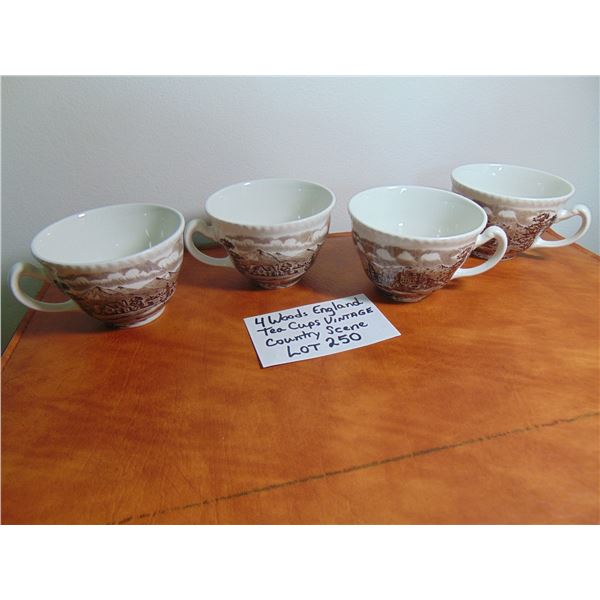 4 WOODS ENGLAND COUNTRY SCENE PATTERN TEACUPS