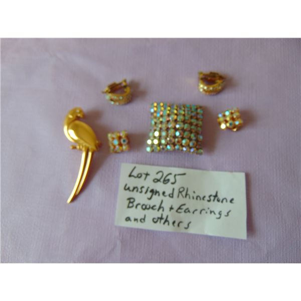 RHINESTONE BROOCH AND EARRINGS AND OTHERS