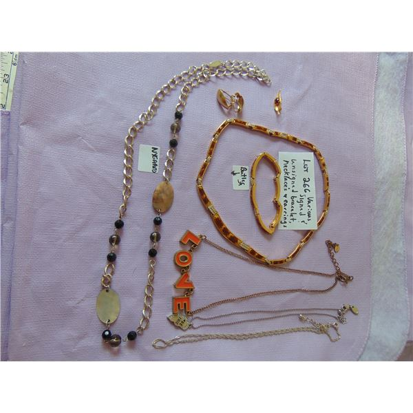 VINTAGE SIGNED AND UNSIGNED NECKLACE AND EARRINS SEE PHOTO