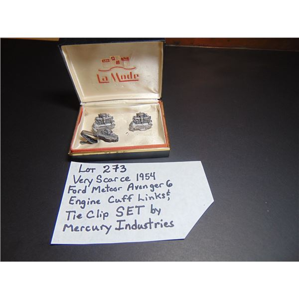 1954 FORD METEOR AVENGER 6 CUFF LINKS & TIE CLIP SCARCE