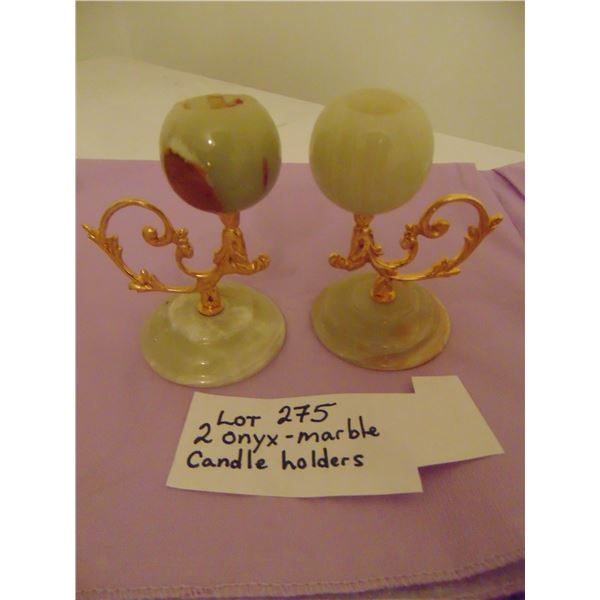 2 ONYX MARBLE CANDLE HOLDERS