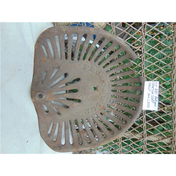 FROST & WOOD ANTIQUE TRACTOR SEAT