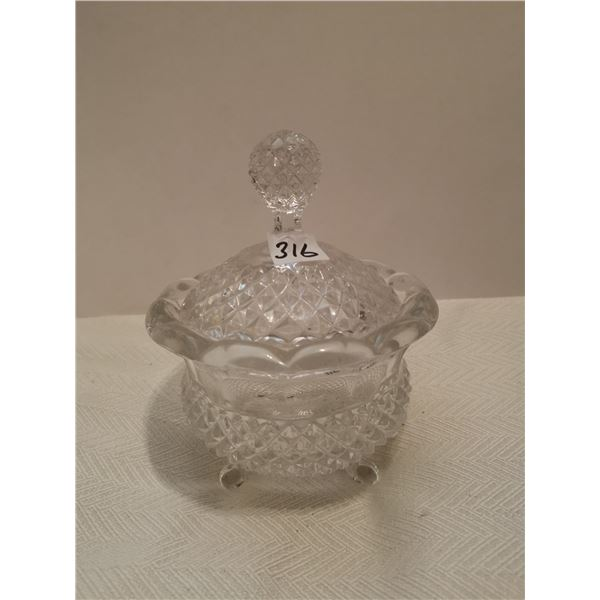 """Crystal candy dish with lid 5"""" X 7"""""""