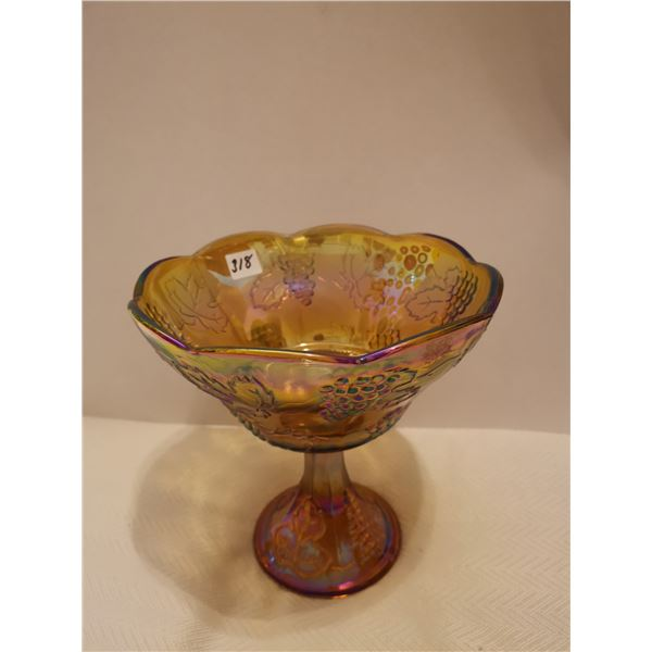 "Carnival glass fruit bowl 8"" X 8"""