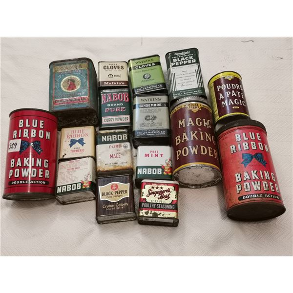 Spice and baking powder tin lot