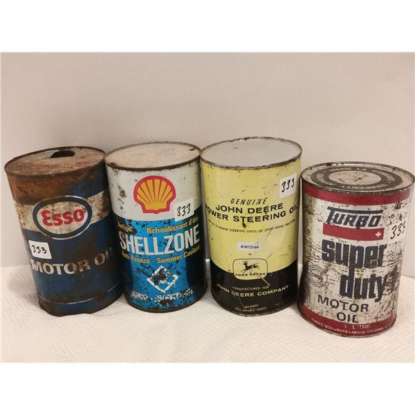 Shell zone antifreeze Esso John Deere oil tins Turbo oil full