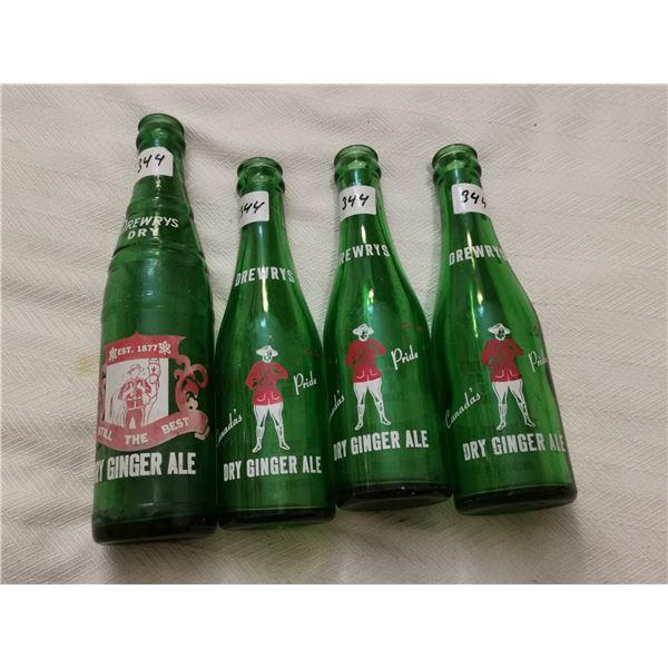 4 Drewrys dry bottles