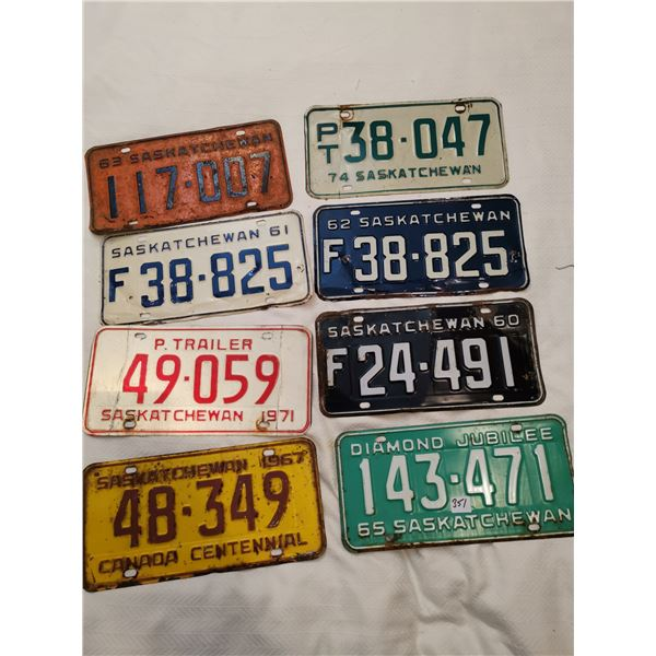 8 plates - 1960, 61, 62, 63, 65, 67, 71 & 74