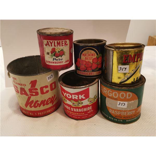 Jam, Peanut Butter & Honey tins