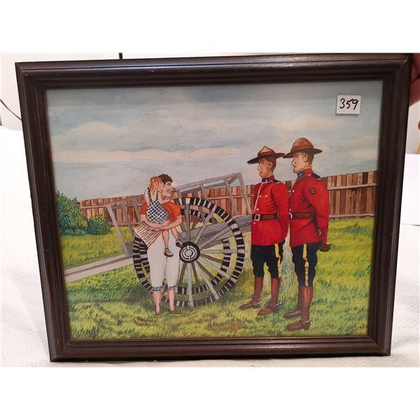 "RCMP folk art picture 16 X 14"""