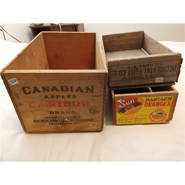 3 Vintage wooden fruit crates