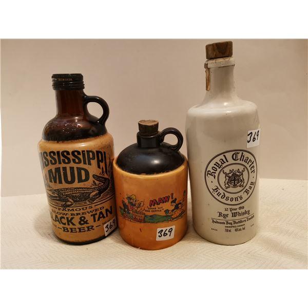 Hudson Bay whiskey bottle & 2 others