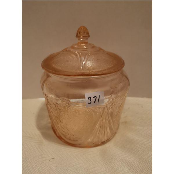 Hazel atlas royal lace pink depression glass cookie jar 6 X 7