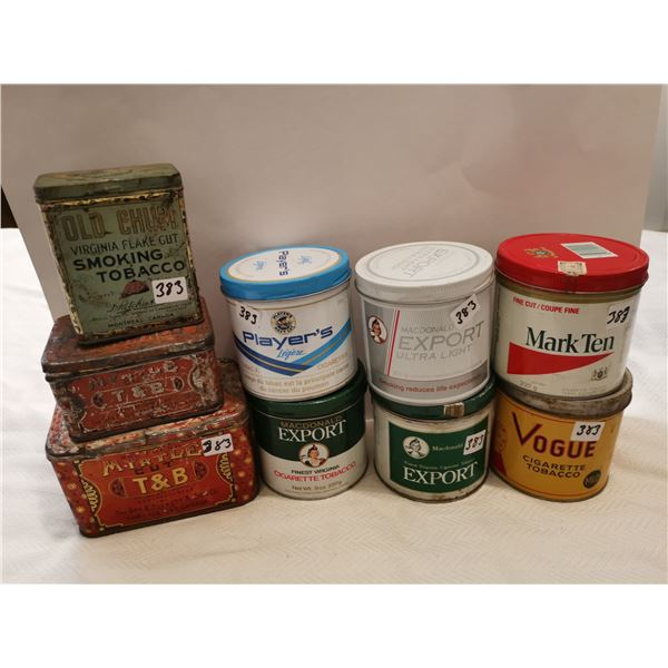 9 tobacco tins